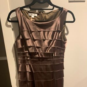 London Times bronze layered look dress
